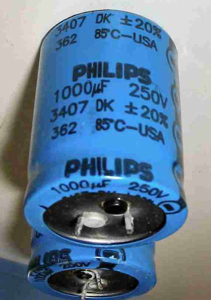 capacitor:1000uf250v85c-phillips Philips Large snap in Electrolytic capacitor
